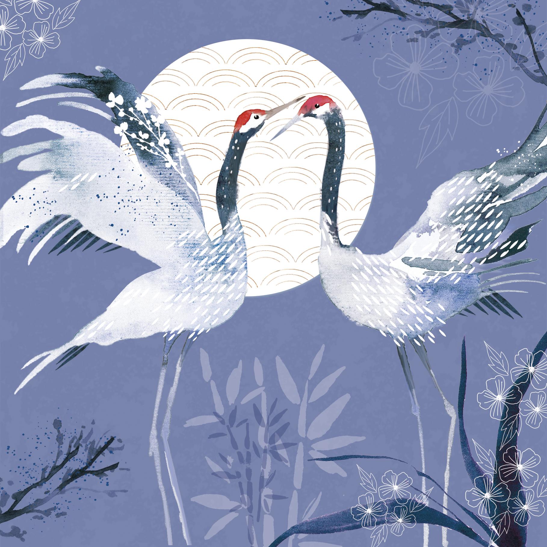 Above: Sam Neville's cranes/Sanja Rescek cranes or embellished bird artwork reminiscent of Kimono prints, courtesy of The Bright Agency.