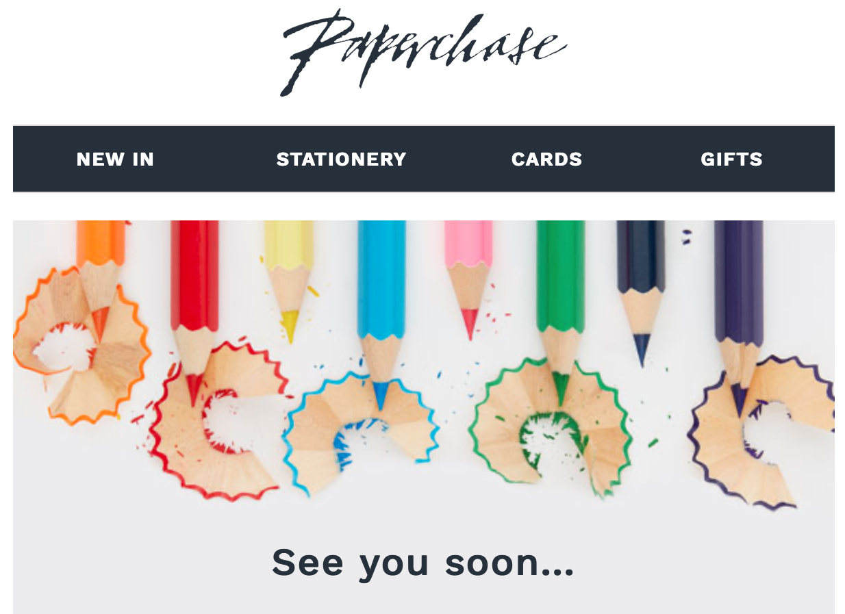 Above: Paperchase took the decision before the official directive to shut all its shops.