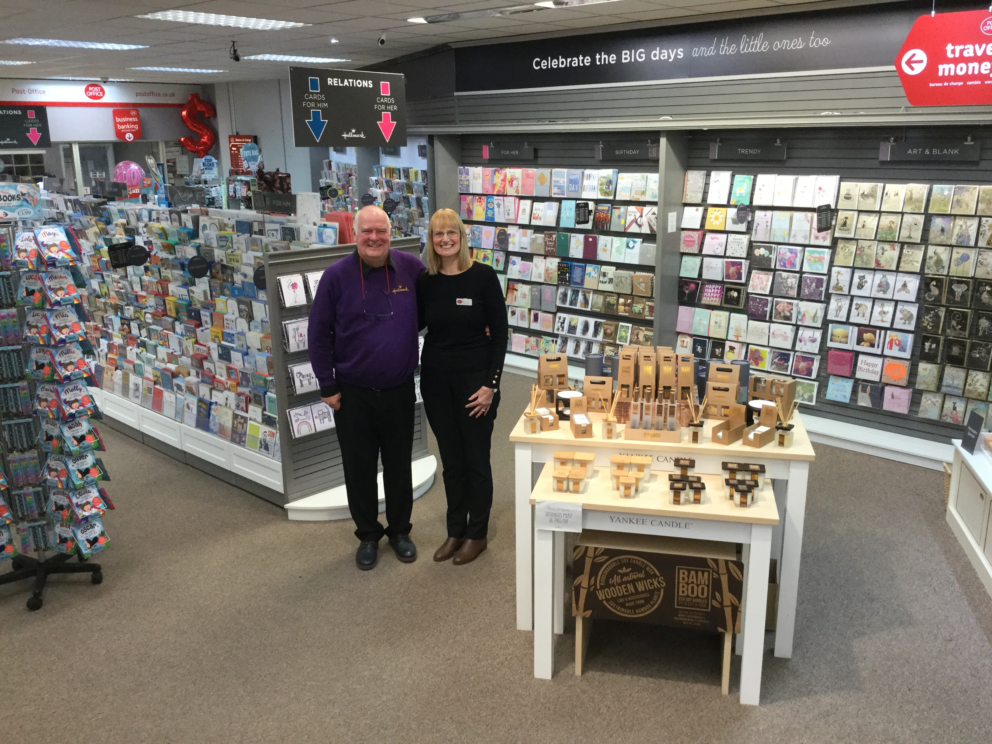 Above: Bob and Jill McGhee in their recently refurbished Hallmark Newark store.