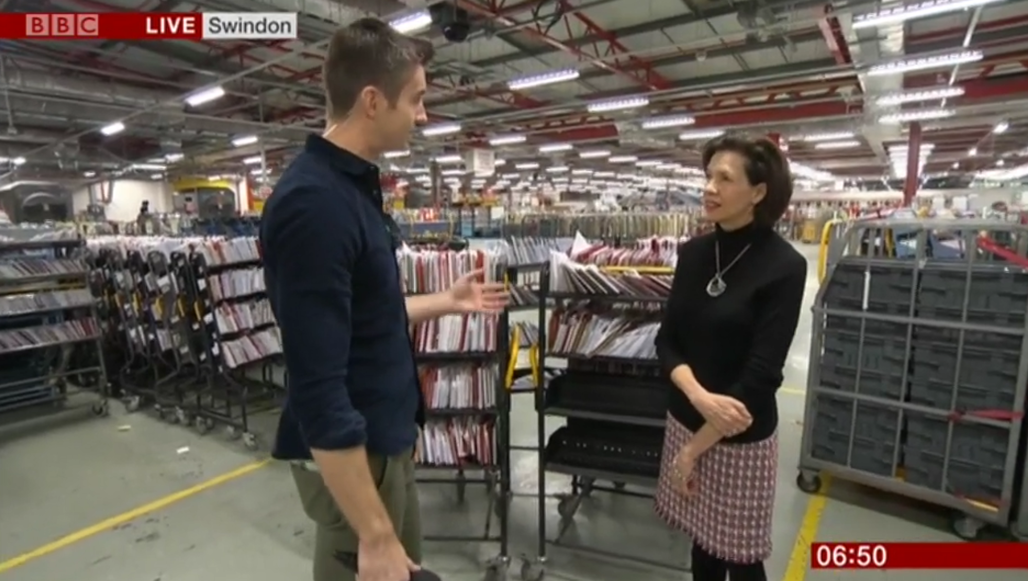 Above: The greeting card industry has a symbiotic relationship with Royal Mail as Amanda Fergusson, ceo of the GCA explained when she appeared on BBC news, filmed in a major sorting office in December 2018.