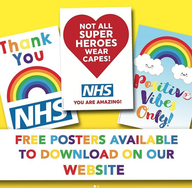Above: The Brainbox Candy NHS posters are equally suitable to be used in homes or retailers' windows.