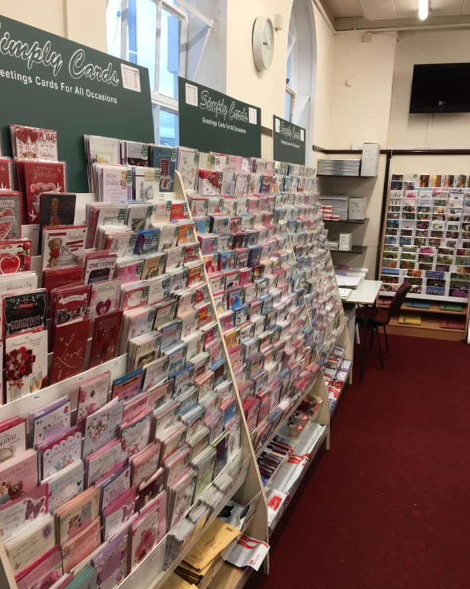Above: The card display, from Colmans' Simply Cards side in the Bude Post Office.