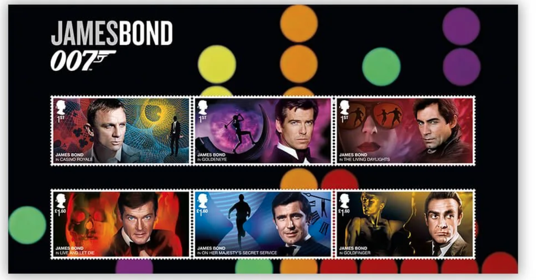 Above: The new 007 James Bond stamps that went on sale on March 17.
