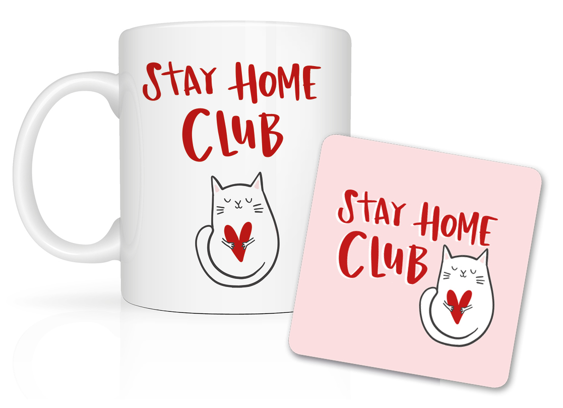Above: A mug and coaster from Lucy Maggie's Stay Home Club range.