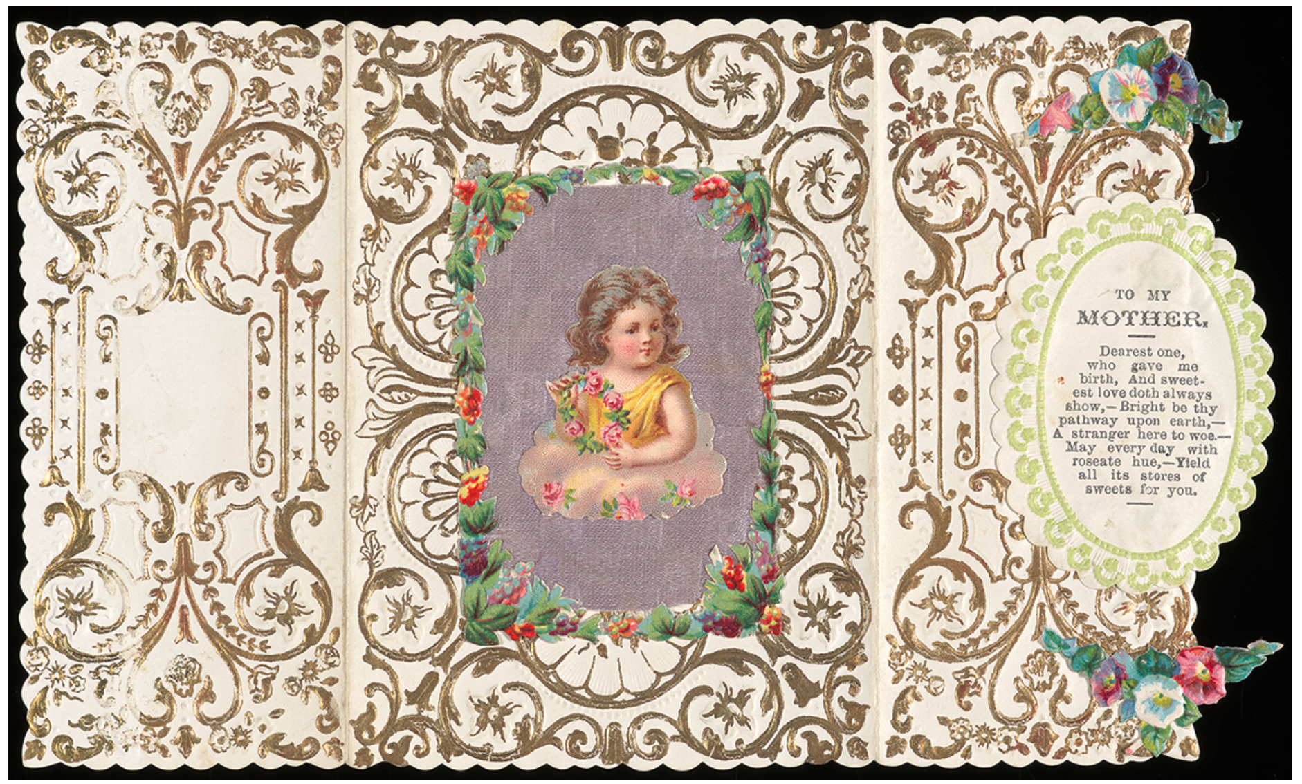 Above: A card dating to around 1860 which is within The Postal Museum's archives which is effectively a Mother's Day card.