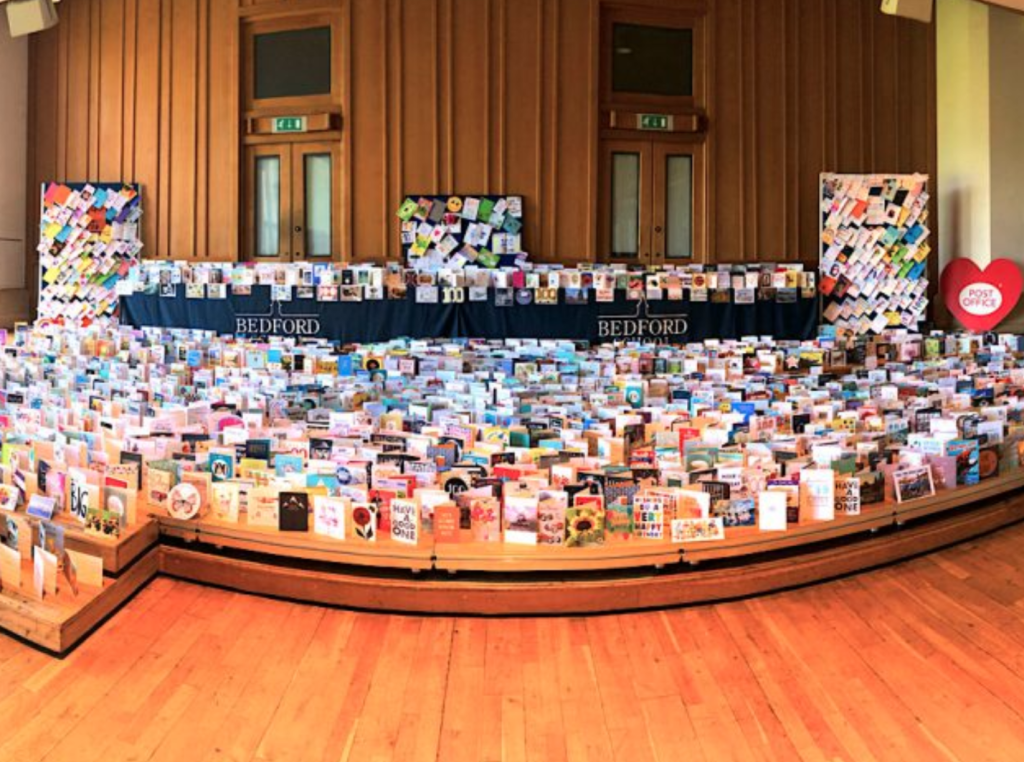 Above: Some of the cards that have been put on display in Bedford School for Captain Tom.