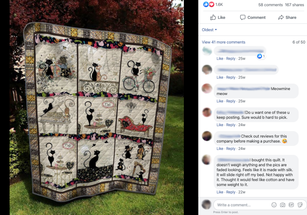 Above: The Bug Art artwork has also made its way onto quilts without permission.