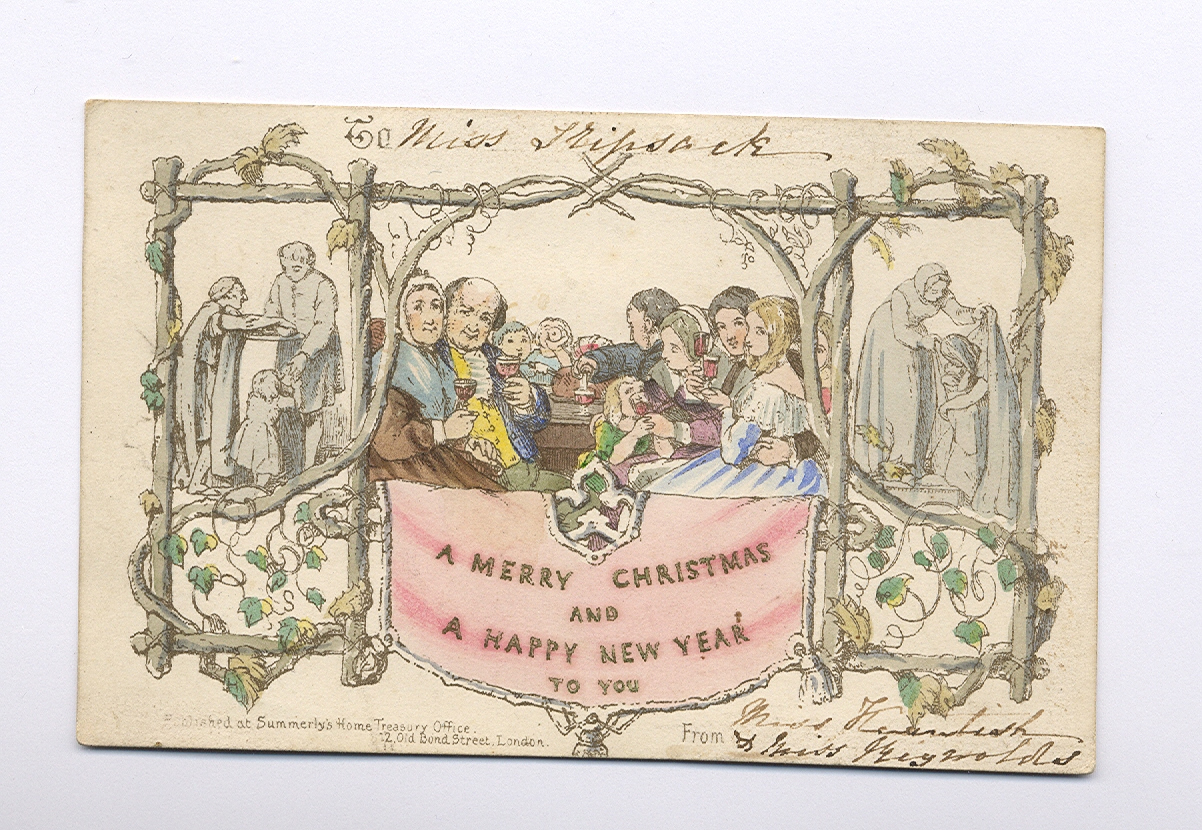 Above: So many of the first ever commercial Christmas cards were destroyed by puritans who took exception to the scene showing children drinking alcohol.