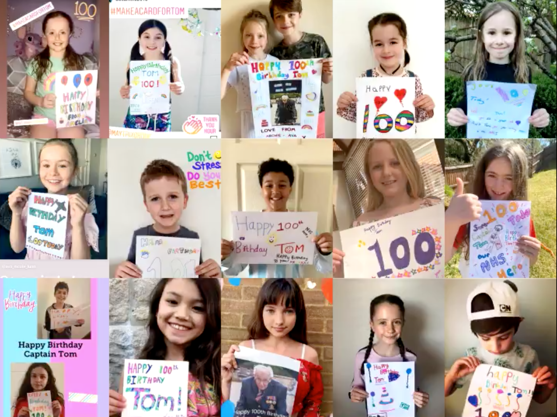 Above: Examples of just a few of the cards that school children have made for Captain Tom as part of the #makeacardfortom campaign.
