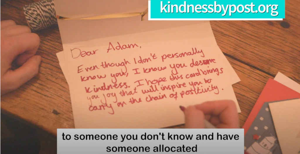 Above: Research findings from UCL verify the benefits of receiving a card from Kindness-by-Post.