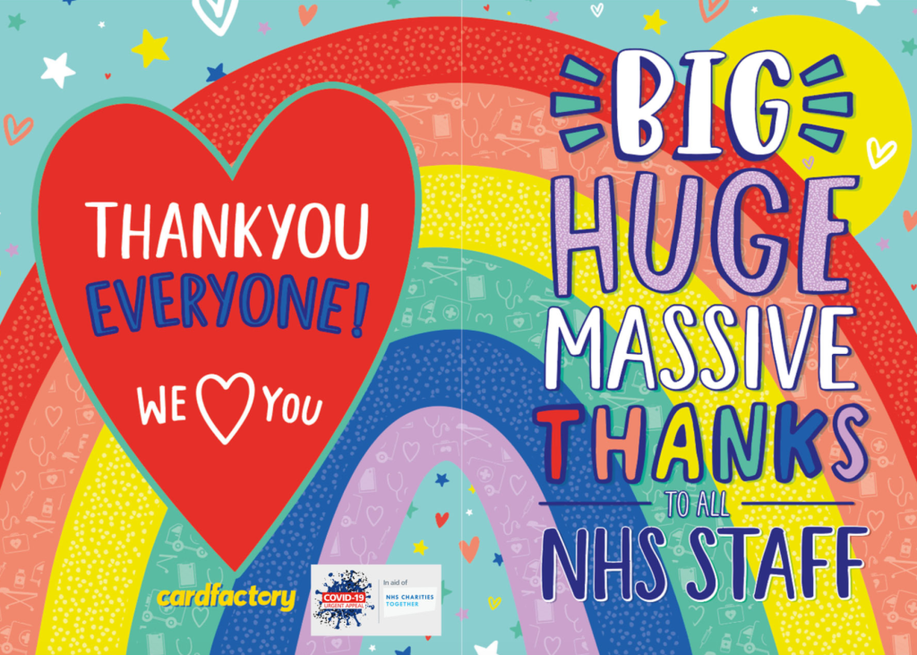 Above: Card Factory's charity campaign will see 100% of donations given to the registered charity, NHS Charities Together.
