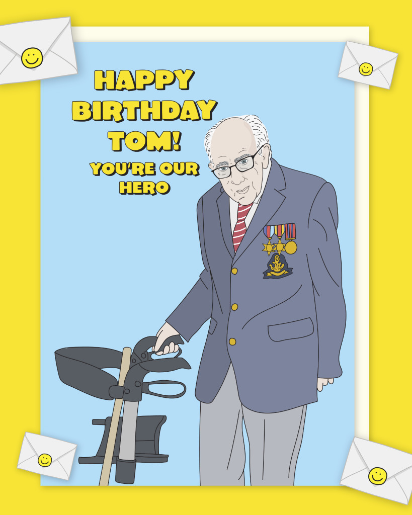 Above: A Captain Tom 100th birthday card from Scribbler.