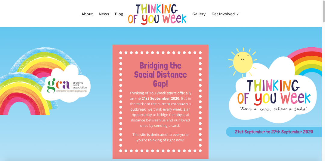 Above: Part of the home page of the new Thinking of You Week website.