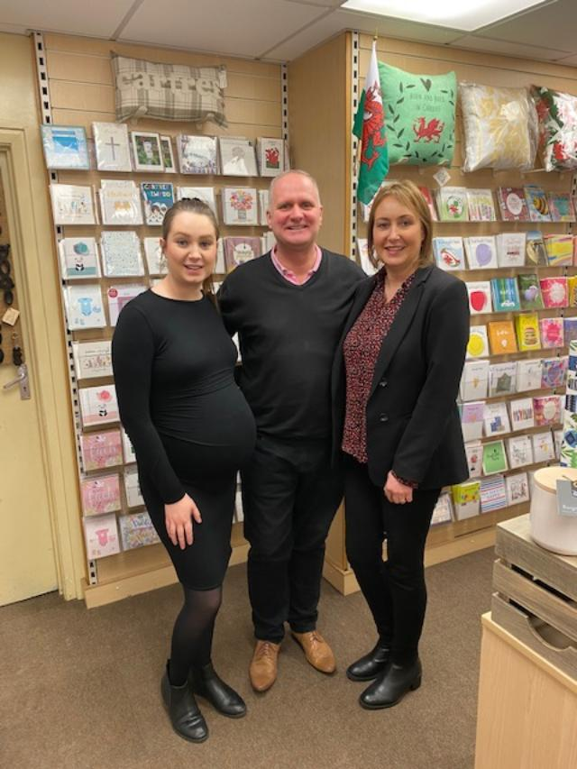 Above:Brendan Cahill with mother and daughter team Debs and Jess Came of Paperweight in Roath, Cardiff in pre-lock down times.