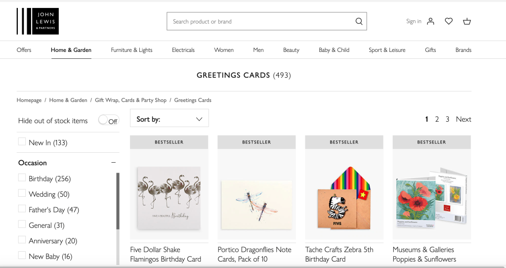 Above: John Lewis & Partners offers almost 500 skus of greeting cards and notelets on its website.