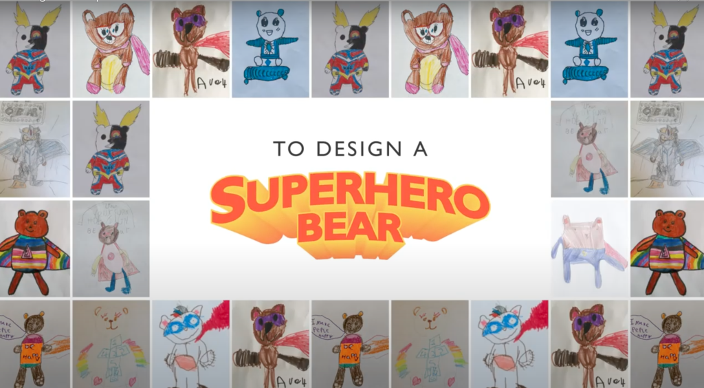 Above: Children are being urged by the John Lewis Group's Feel Good Friday initiative to get creative to design a super-hero bear, with the winning design to be made into a plush product that will be sold in JL&P and Waitrose stores with the proceeds going to the NHS.