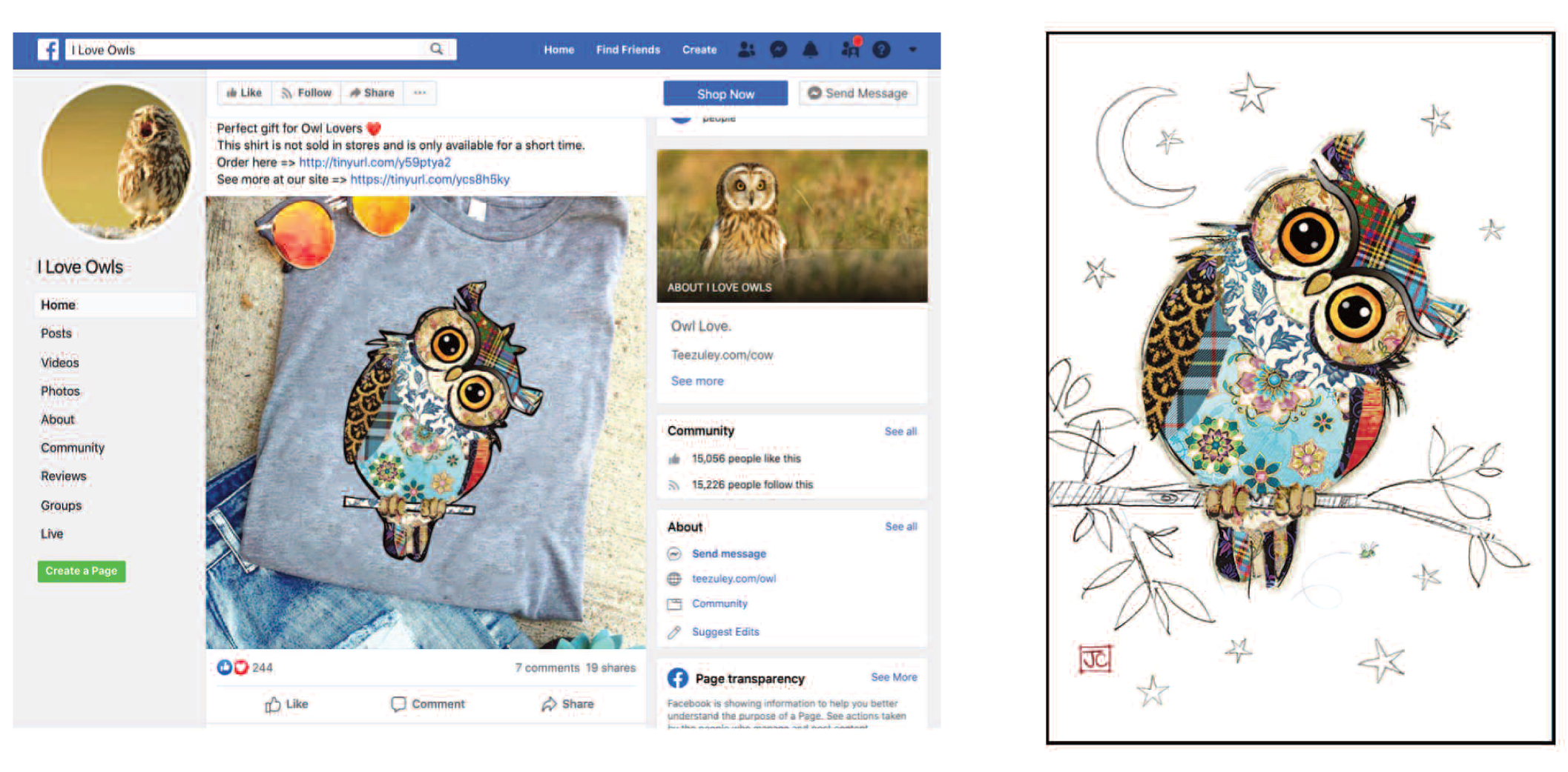 Above: A counterfeit t-shirt featuring a Bug Art design on an I Love Owls Facebook page and the real Bug Art card upon which it is based (above right).