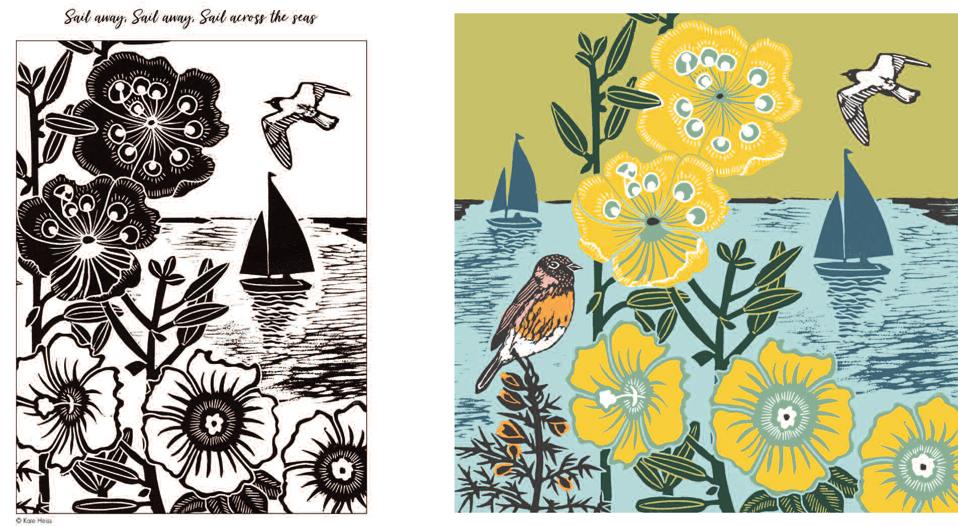 Above: A colouring in page by artist Kate Heiss based on the greeting card design in the Nature Trail range from The Art File (featured).