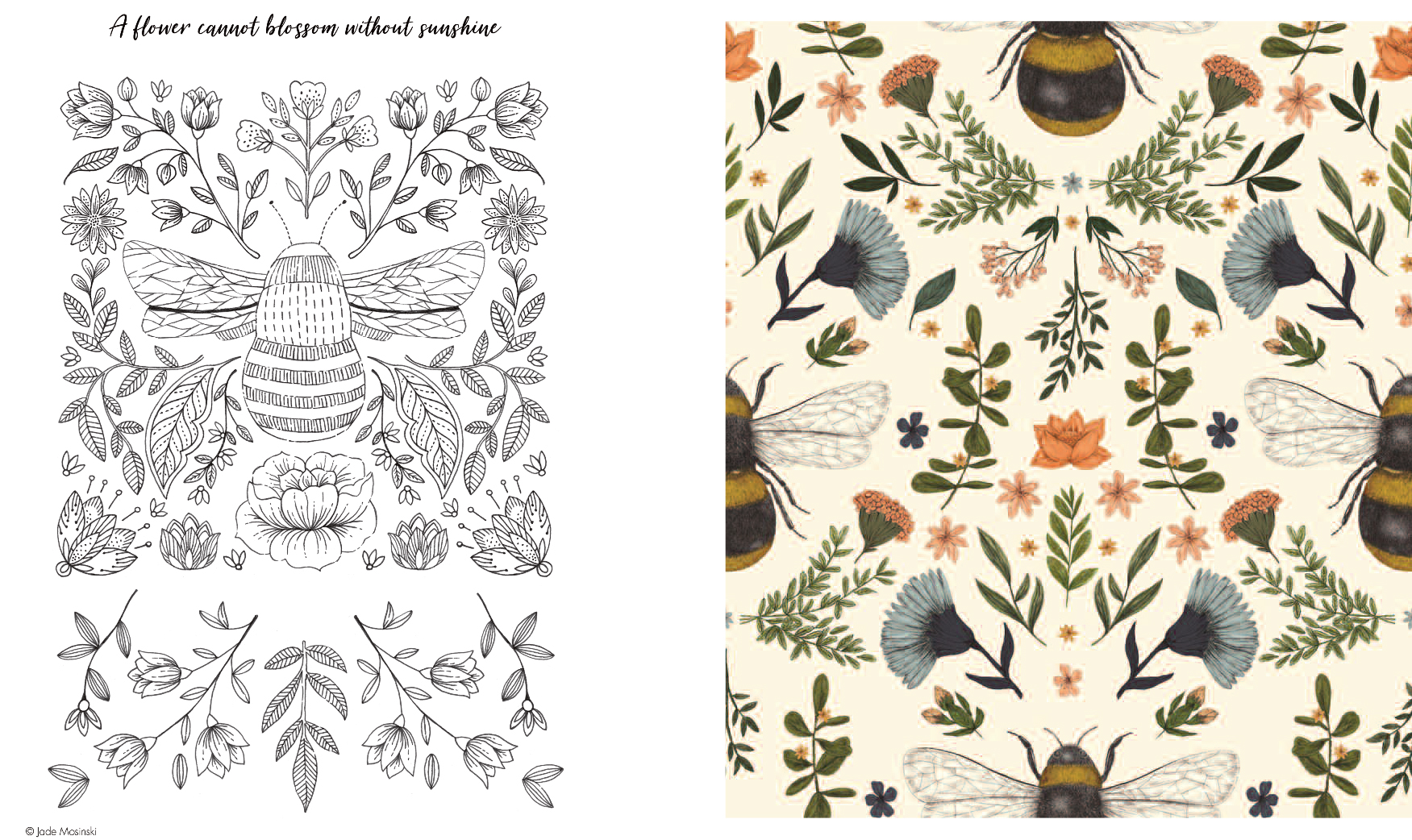 Above: Jade Mosinski's artwork on a colouring in page as well as on a Museums & Galleries card (featured).