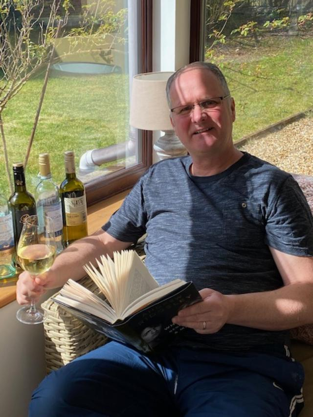 """Above: """"Happiness now is...reading a good book and a bottle of wine....(or two or three 😁😁)"""" says Brendan."""