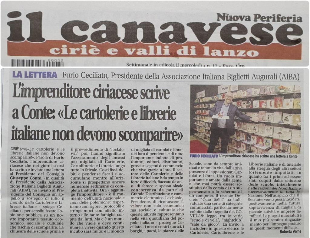 Above: Origamo's Furio Cecliato in a newspaper article about the campaign to open stationery shops.