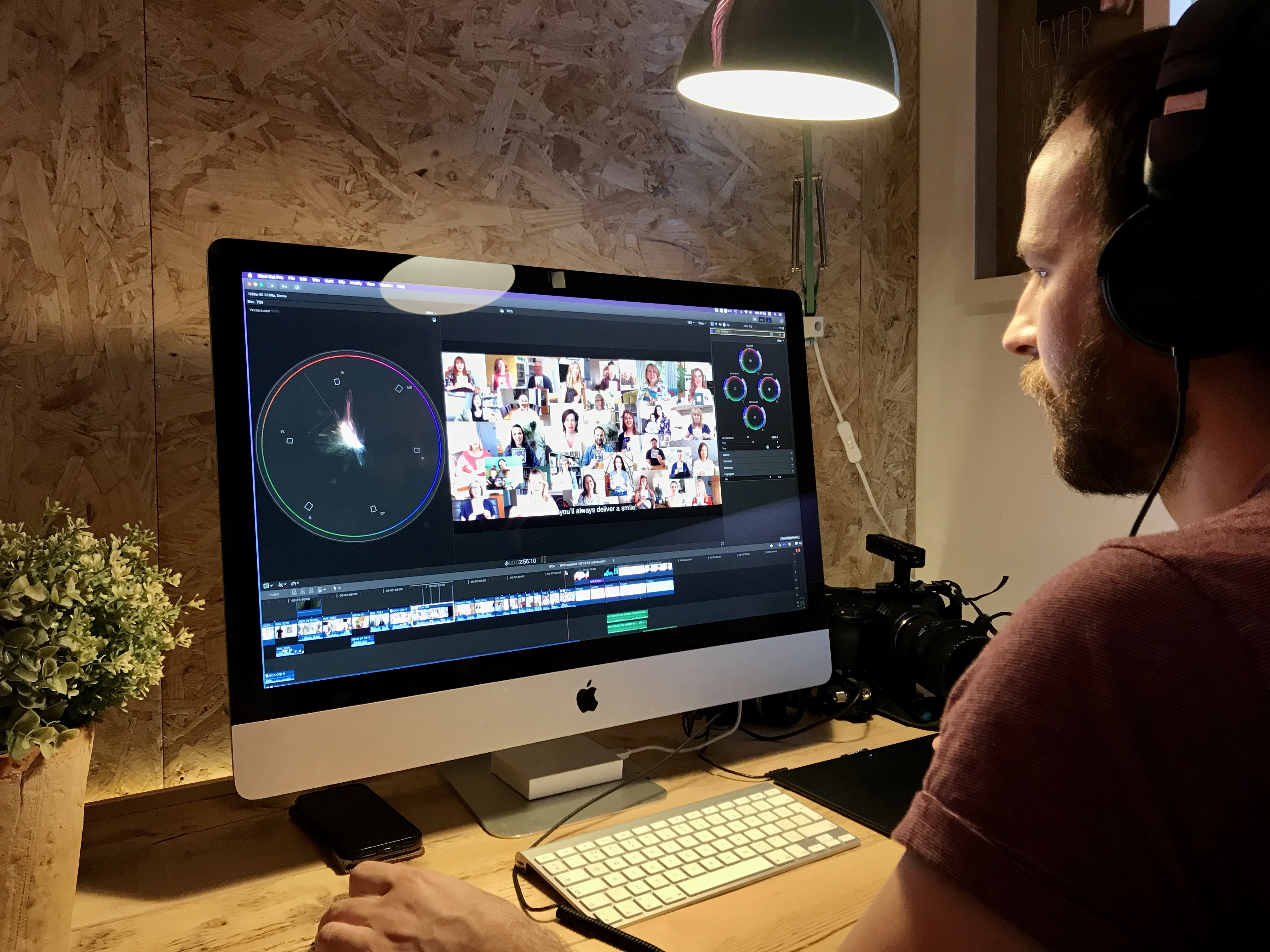 Above: Jack Parker editing the clips that were sent in by the participants' home filming.