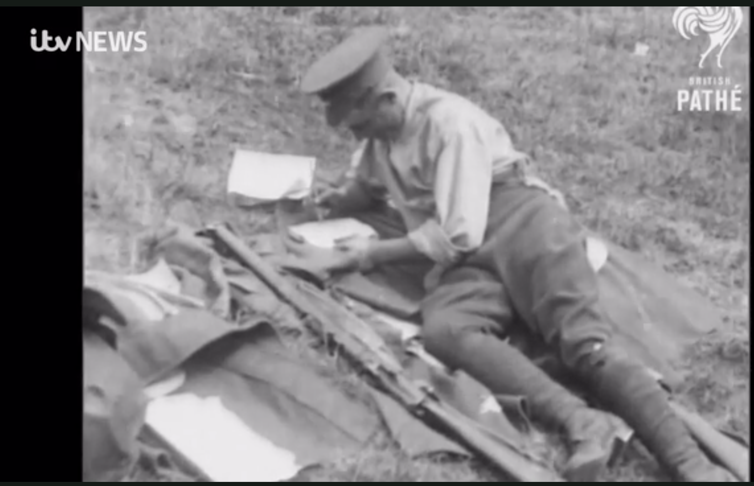 Above: The ITV news coverage included footage from Pathe News explaining how important receiving cards and letters were during the two World Wars.
