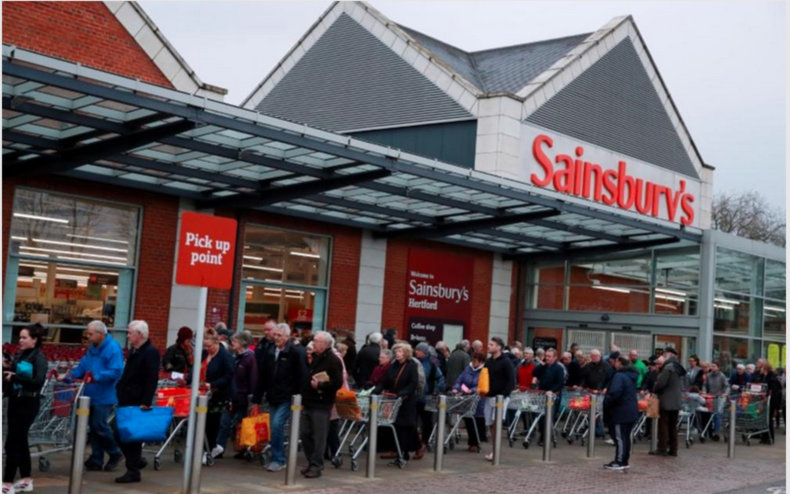 Above: A social distanced queue at a Sainsbury's store when priority was given to the elderly.