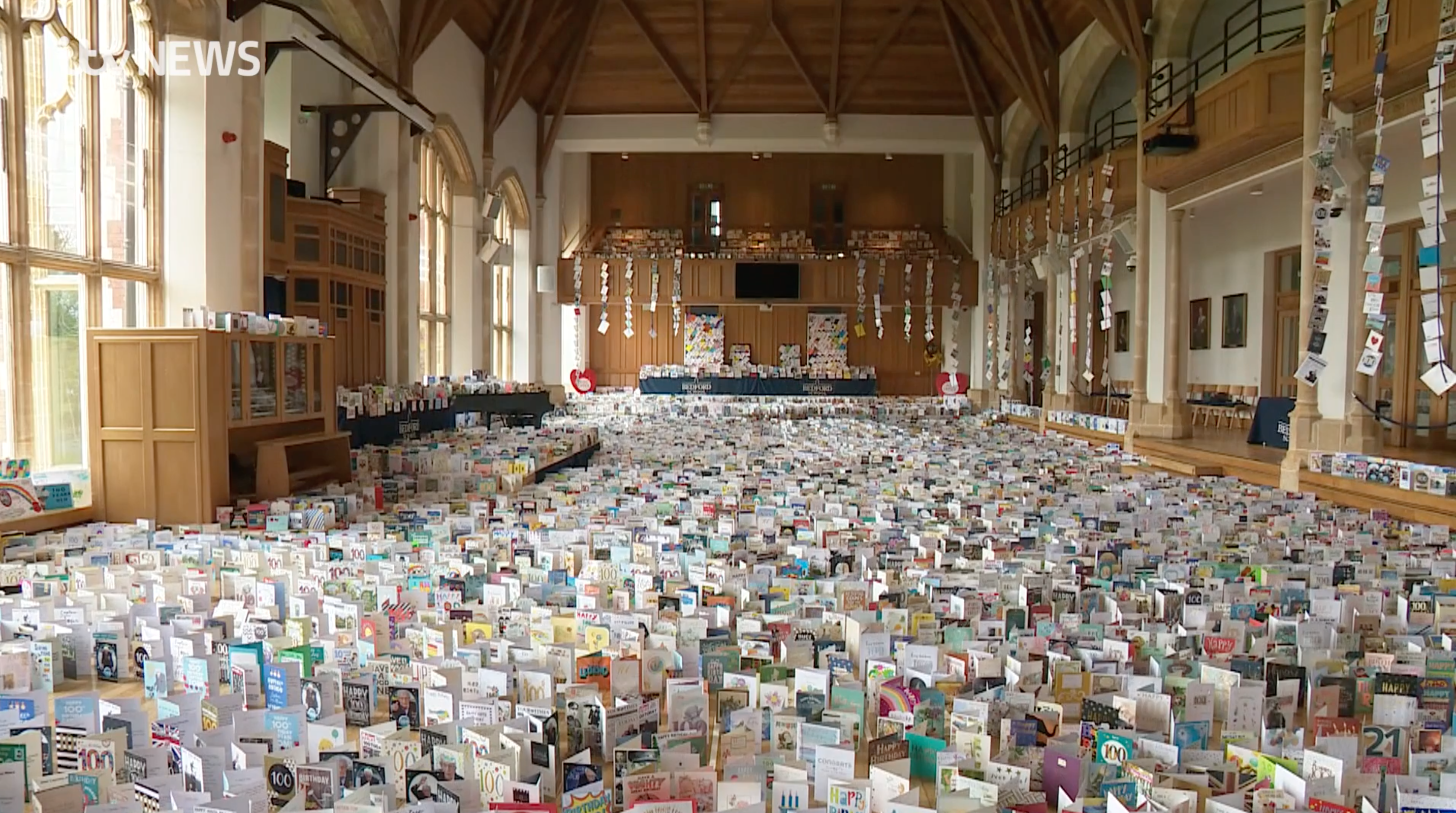 Above: The sea of cards Colonel Tom Moore received for his 100th birthday was used to epitomise how engrained card sending is in the British psyche.