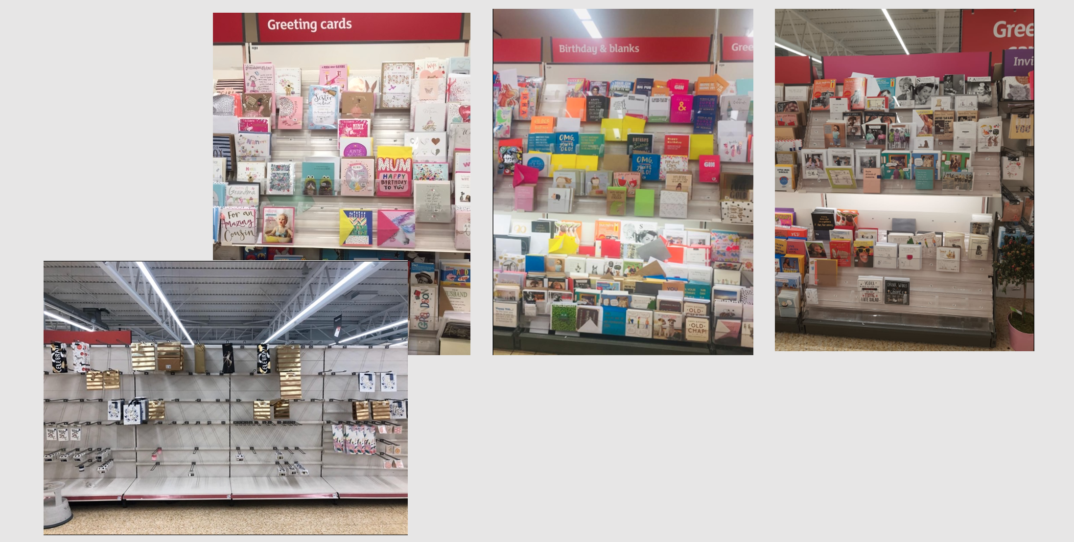 Above: While not perfect availability of cards in Sainsbury's has improved as lockdown has progressed, however giftwrappings have not been able to be maintained.