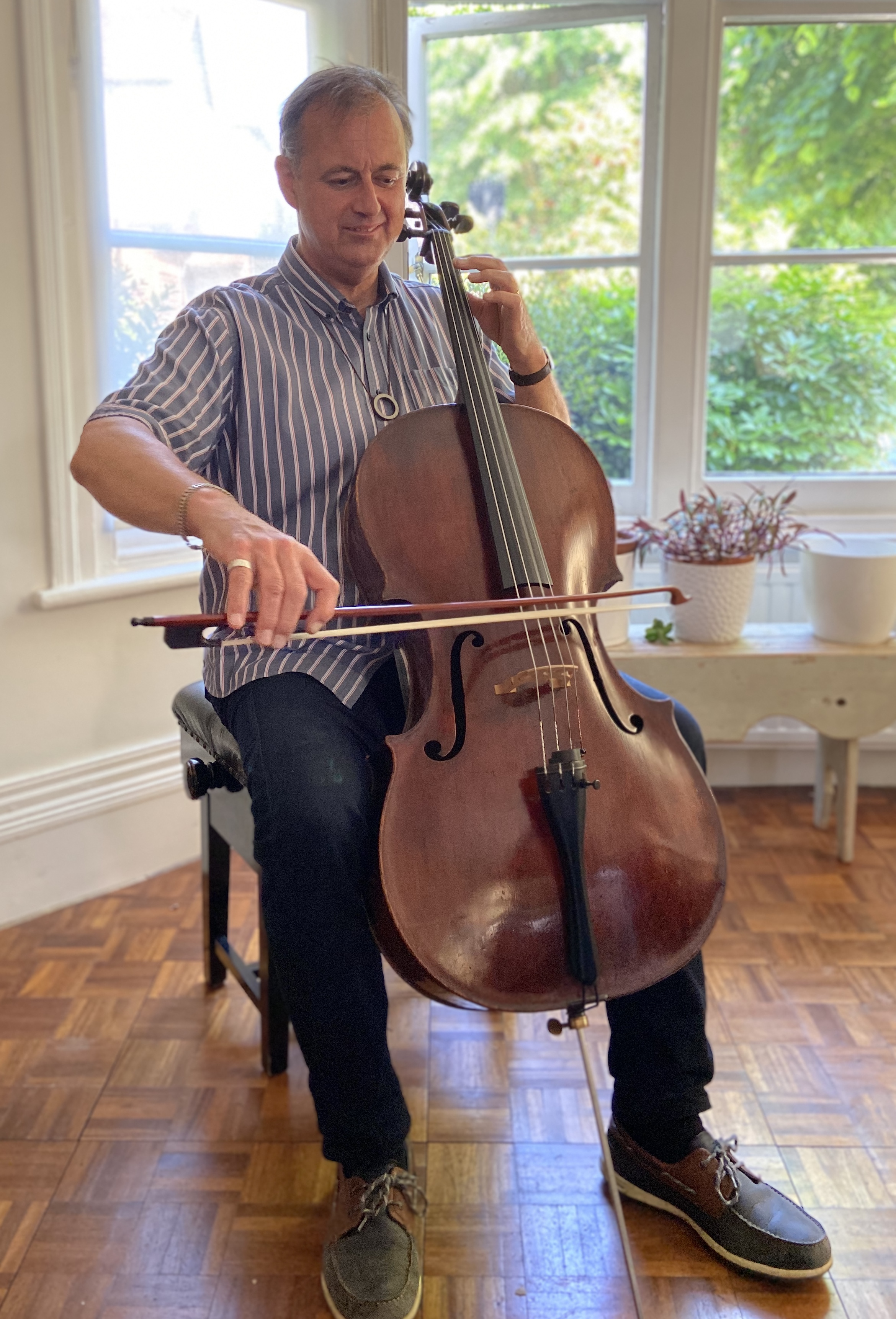 Above: Paul Woodmansterne's cello playing during lockdown has been one of the pleasures.