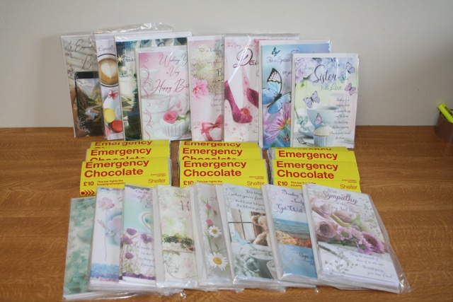 Above: The packs of cards and Shelter chocolate Cardigan Cards has donated to its local hospice.