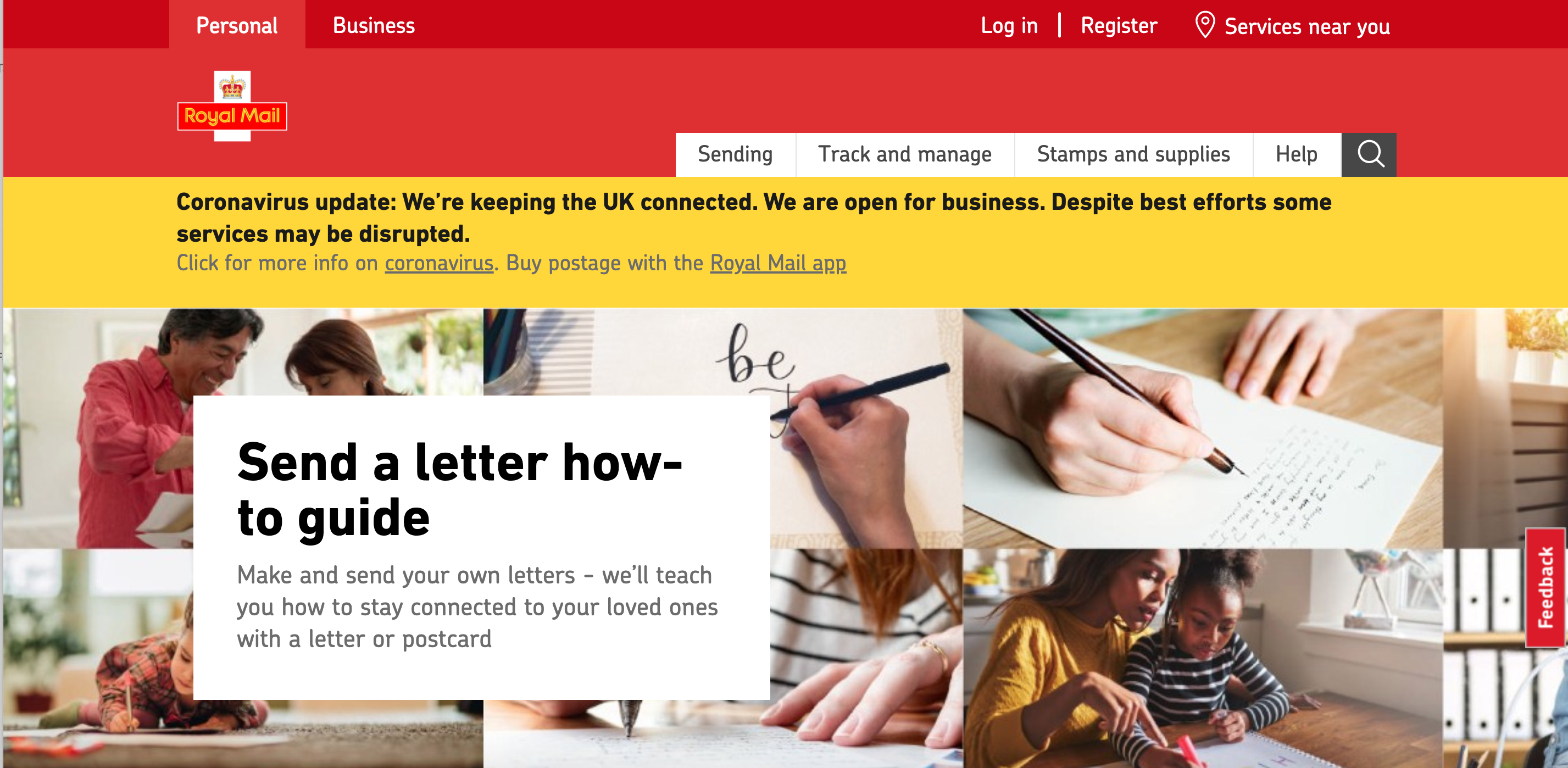 Above: Royal Mail has launched a Send a Letter campaign which encourages the sending of cards, postcards as well as letters.
