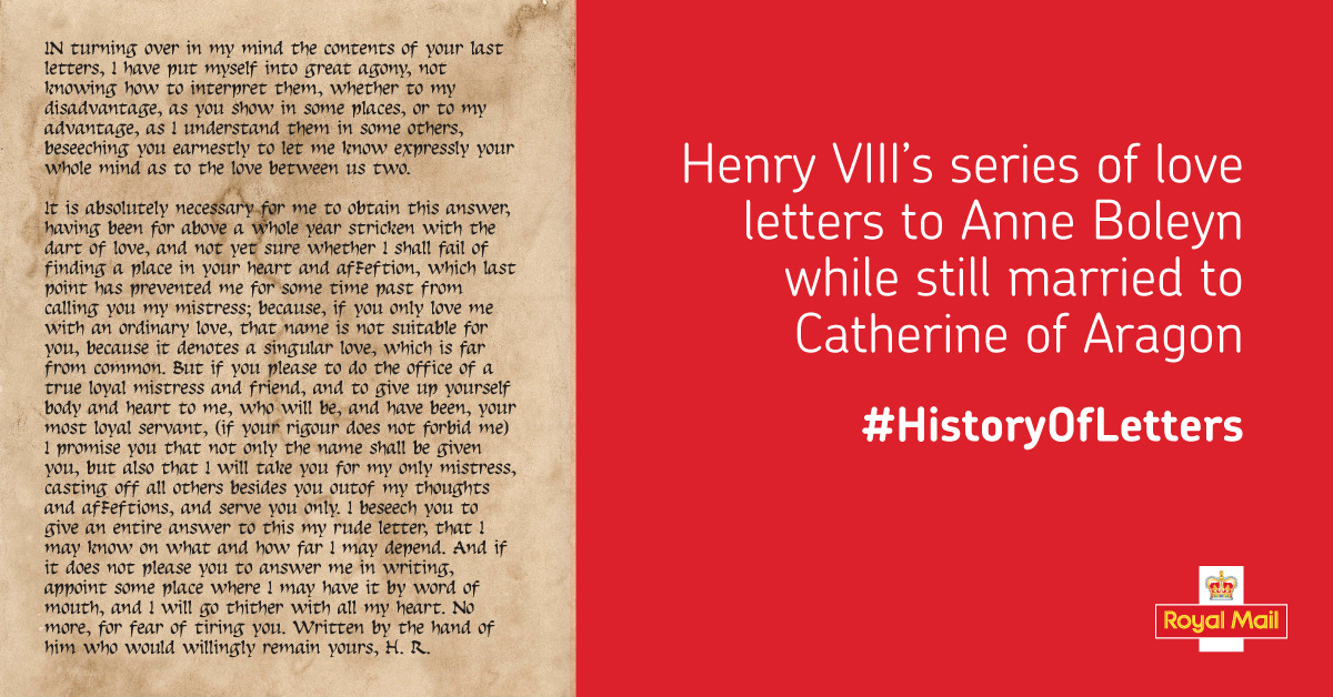 Above: The Royal Mail Send a Letter website includes many examples of historic letters, such as this one that Henry VIII sent to his then lover Anne Boleyn while he was still married to Catherine of Aragon.