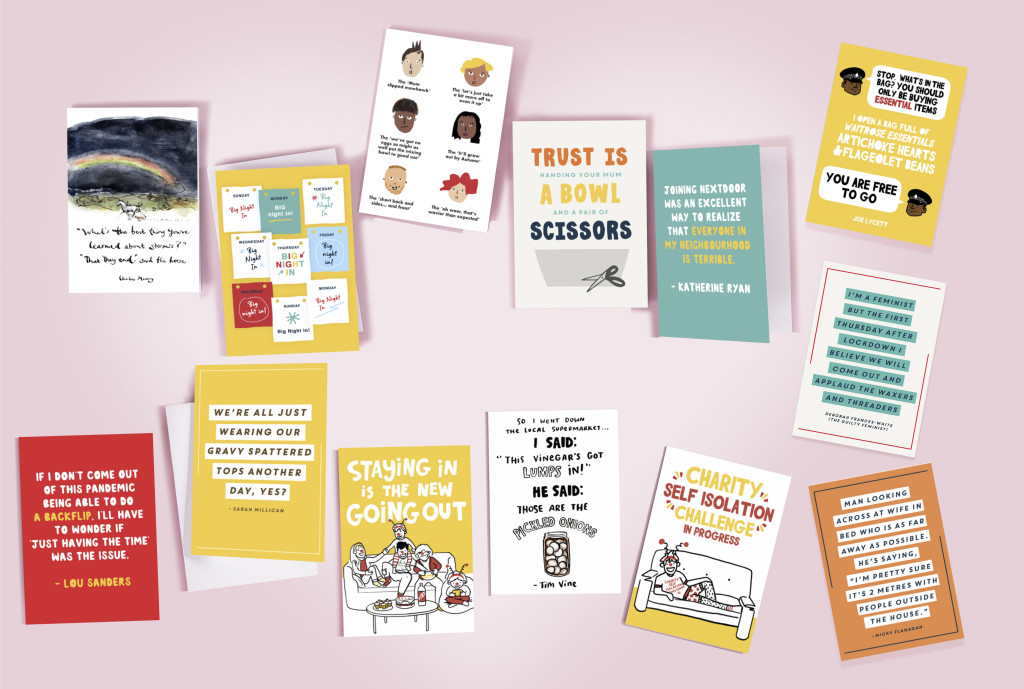 Above: A selection of Moonpig's eCards featuring the lines from top comedians and author.