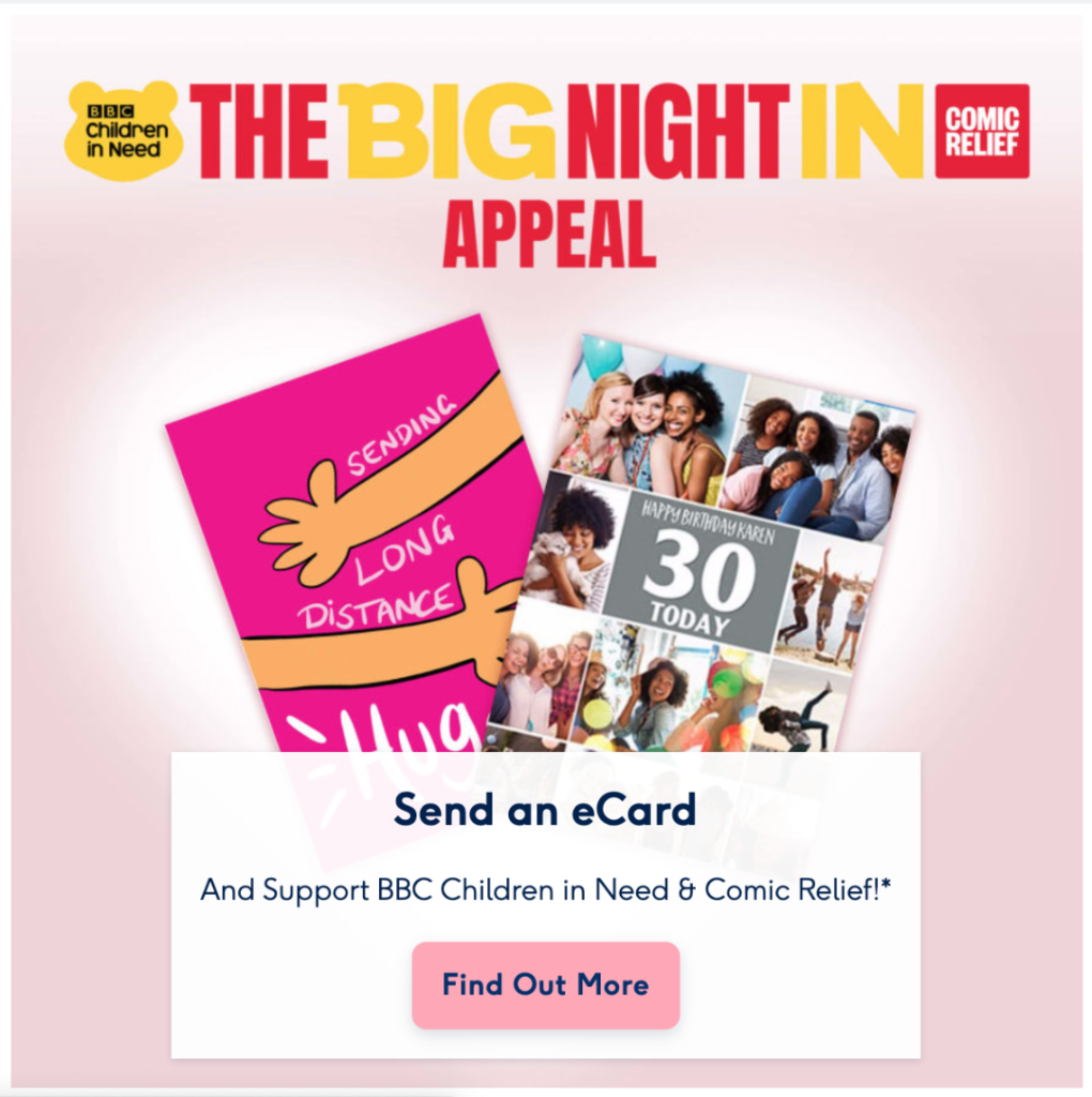 Above: The London Studio's 'Long Distance Hugs' appeared on Moonpig's homepage to promote the appeal.