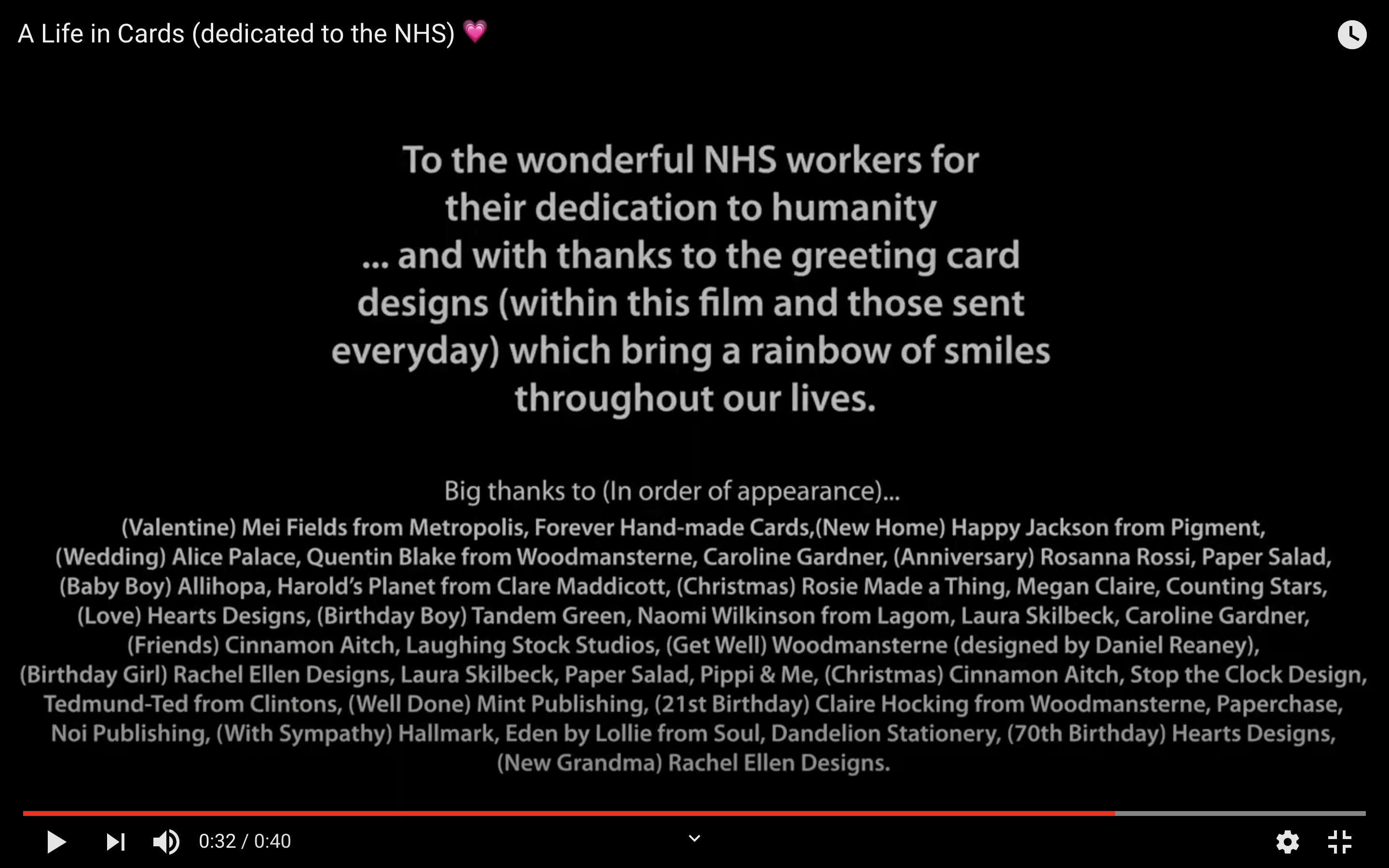 Above: The thank yous at the end of the film.