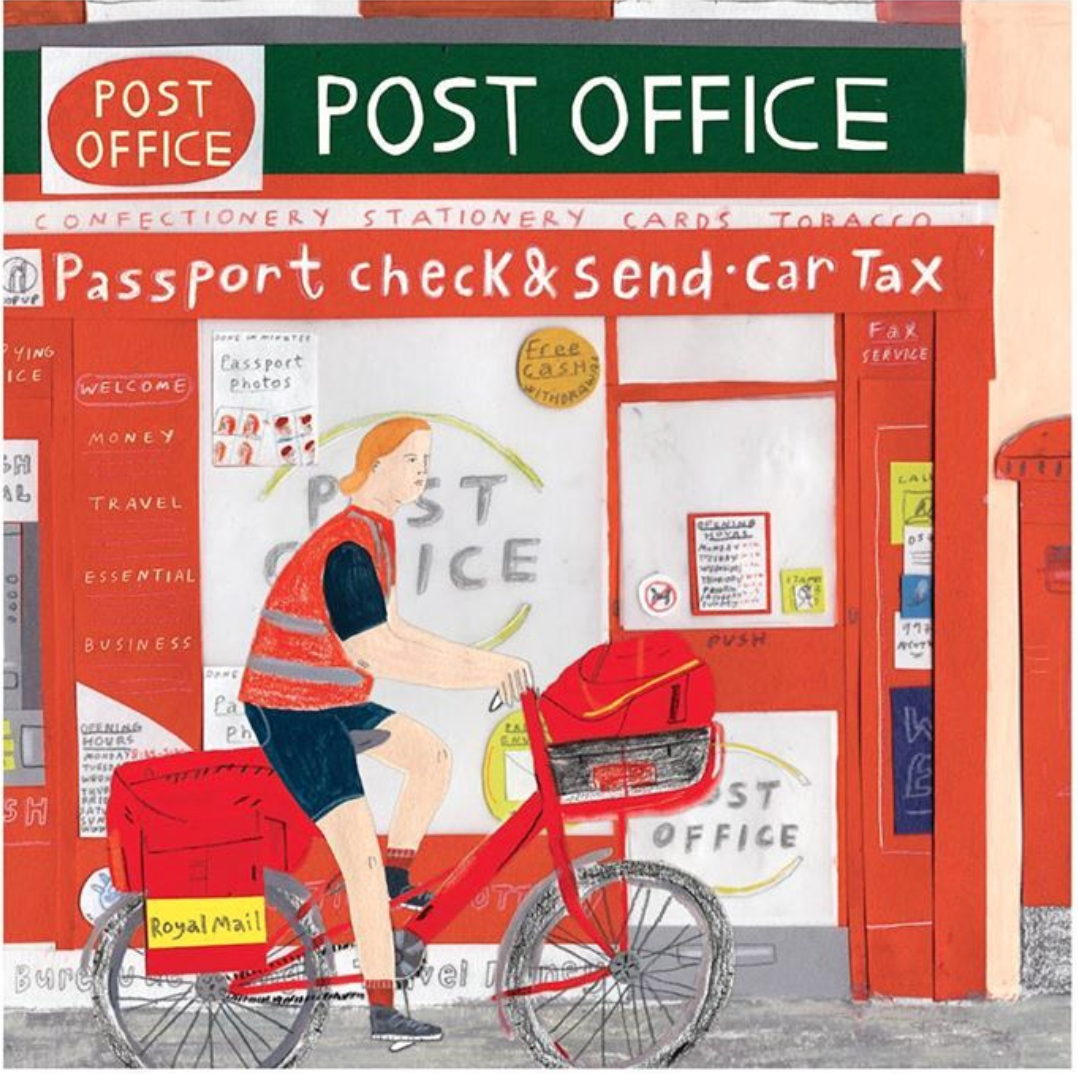 Above: Maisy Summer, whose work appears on cards in Paperchase and Sainsbury's, salutes the post office.