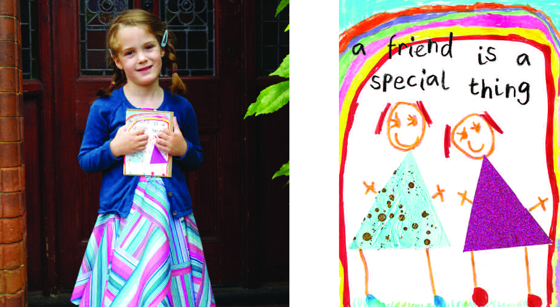 Above: Rose Pickersgill, aged five with her charming 'friends' card design.