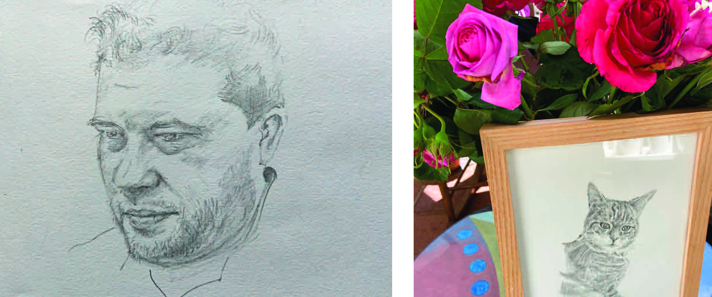 Above: A sketch by Paul of his colleague Adam Osbourne and one of a good friend's cat.