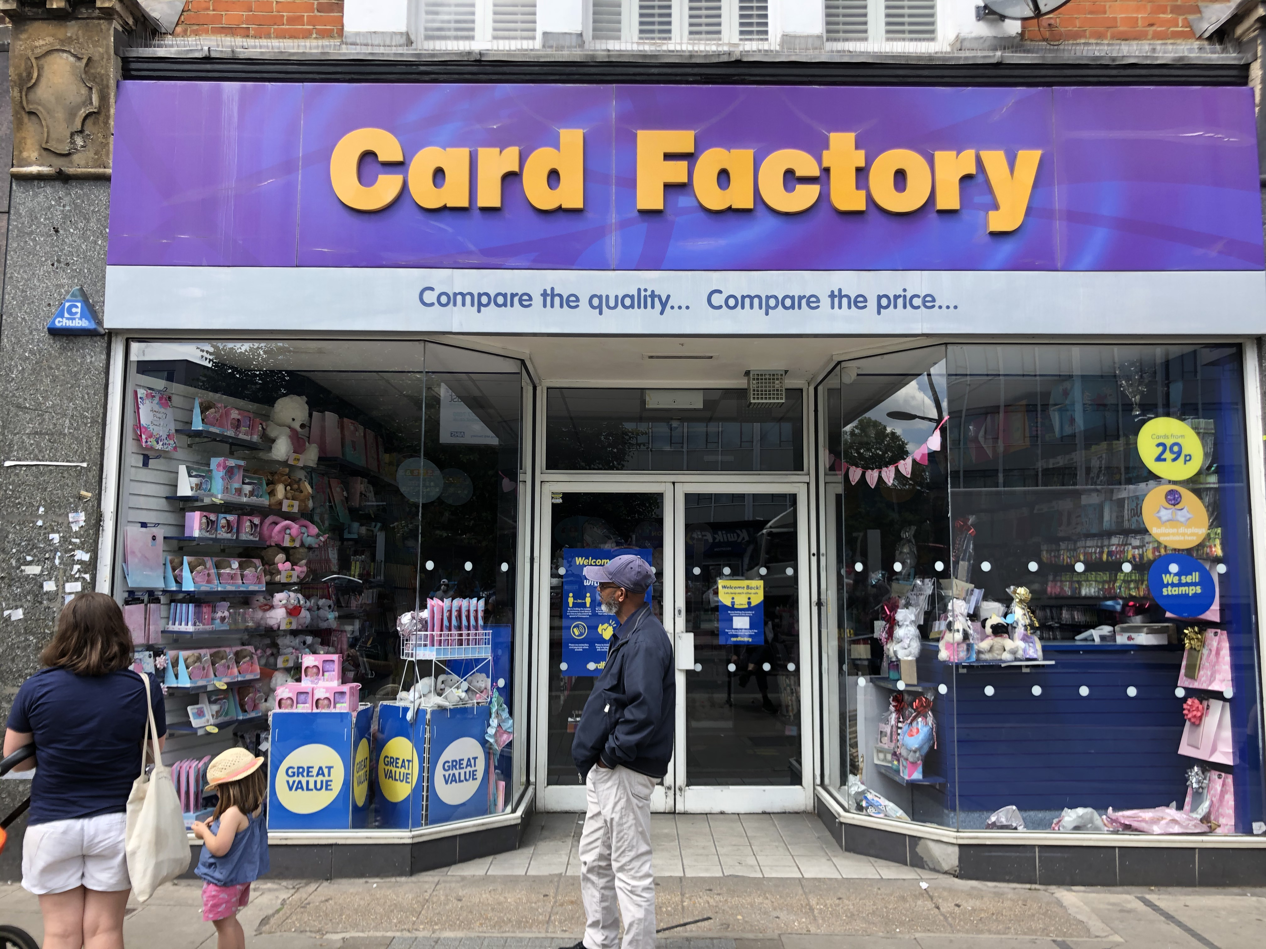Above: The vast majority of Card Factory shops remain closed as part of a phased re-opening.