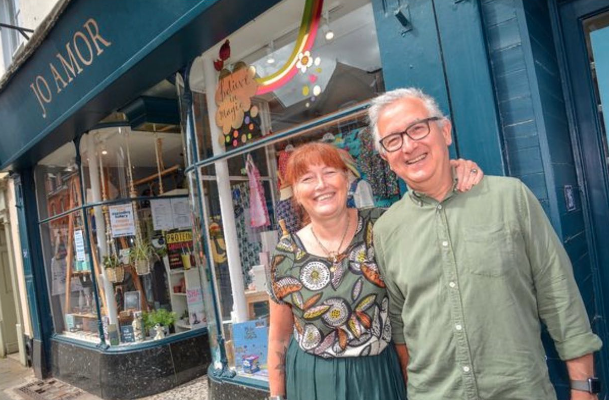 Above: Jo and Mike Webber outside their shop, Jo Amor.