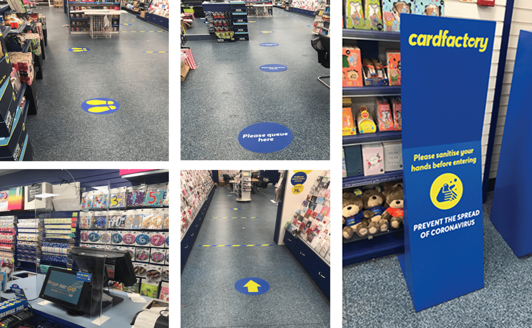 Above: Card Factory shows examples on its website of how it is safeguarding against Covid-19 in its stores.