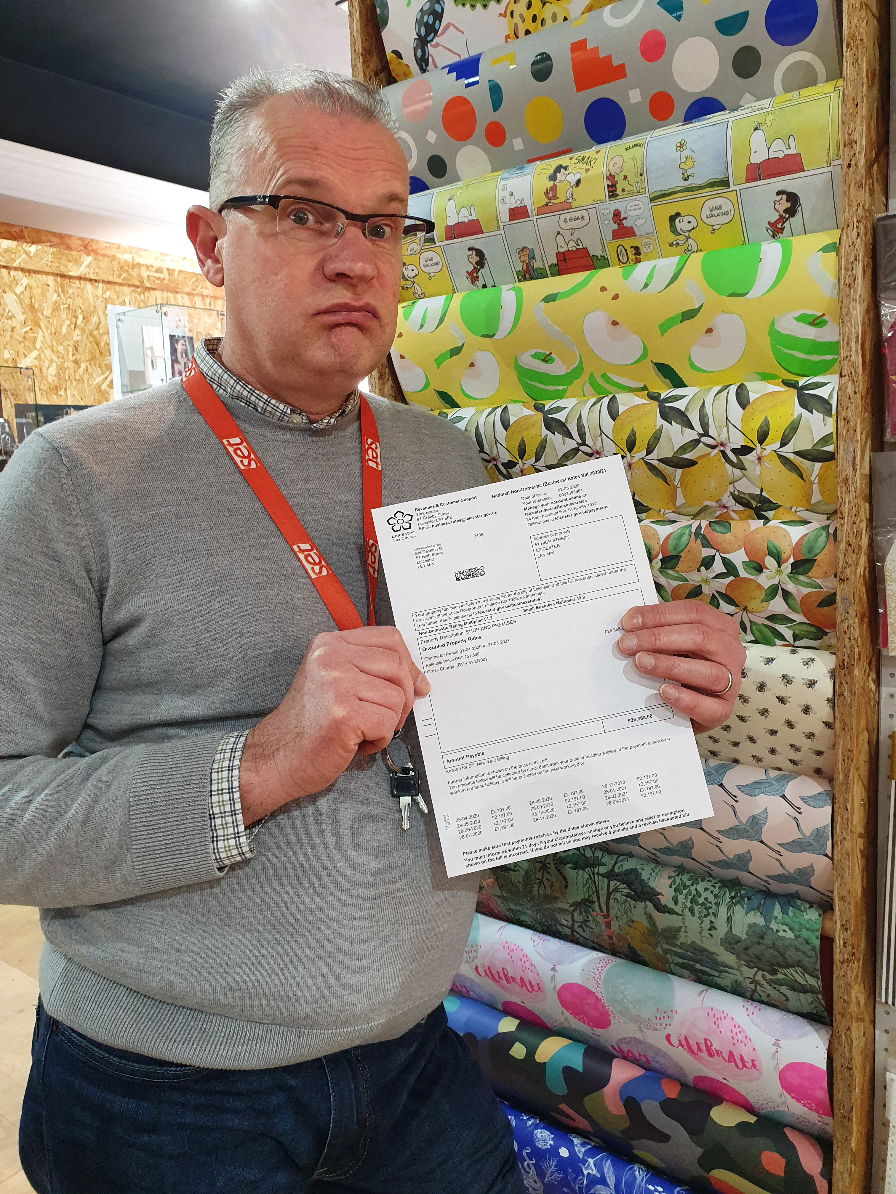 Above: Set Designs' Stuart Delahoy at the start of lockdown when he received news that his shop narrowly missed out on a rates holiday. Thankfully it was extended to all.