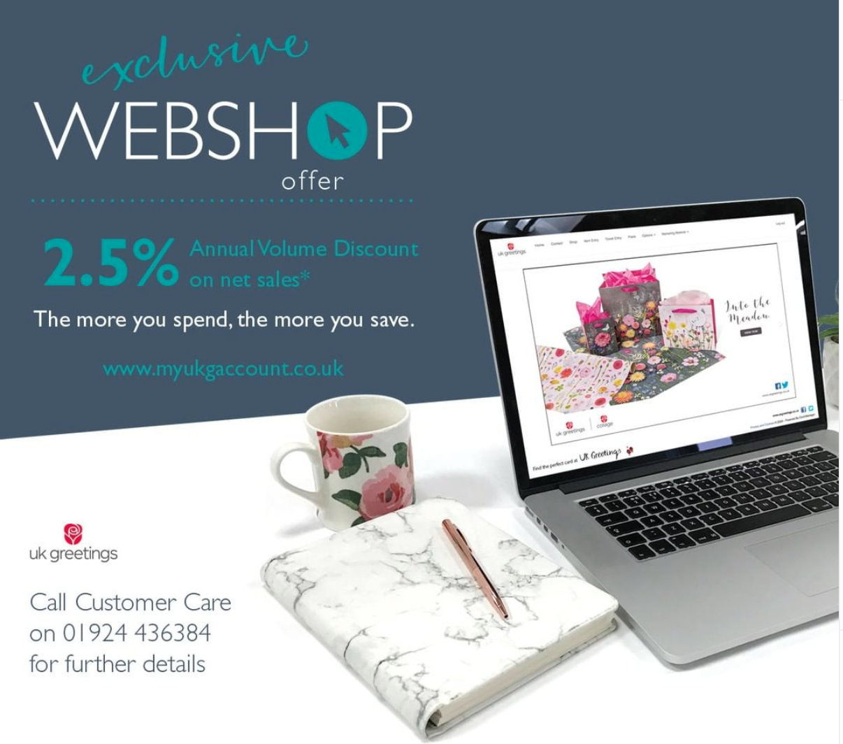 Above: UKG launched an annual discount promotion in March (which runs until Feb 2021) for a 2.5% discount on orders (net sales) placed for everyday cards and giftwrap (minimum spend £1,200 during the period).