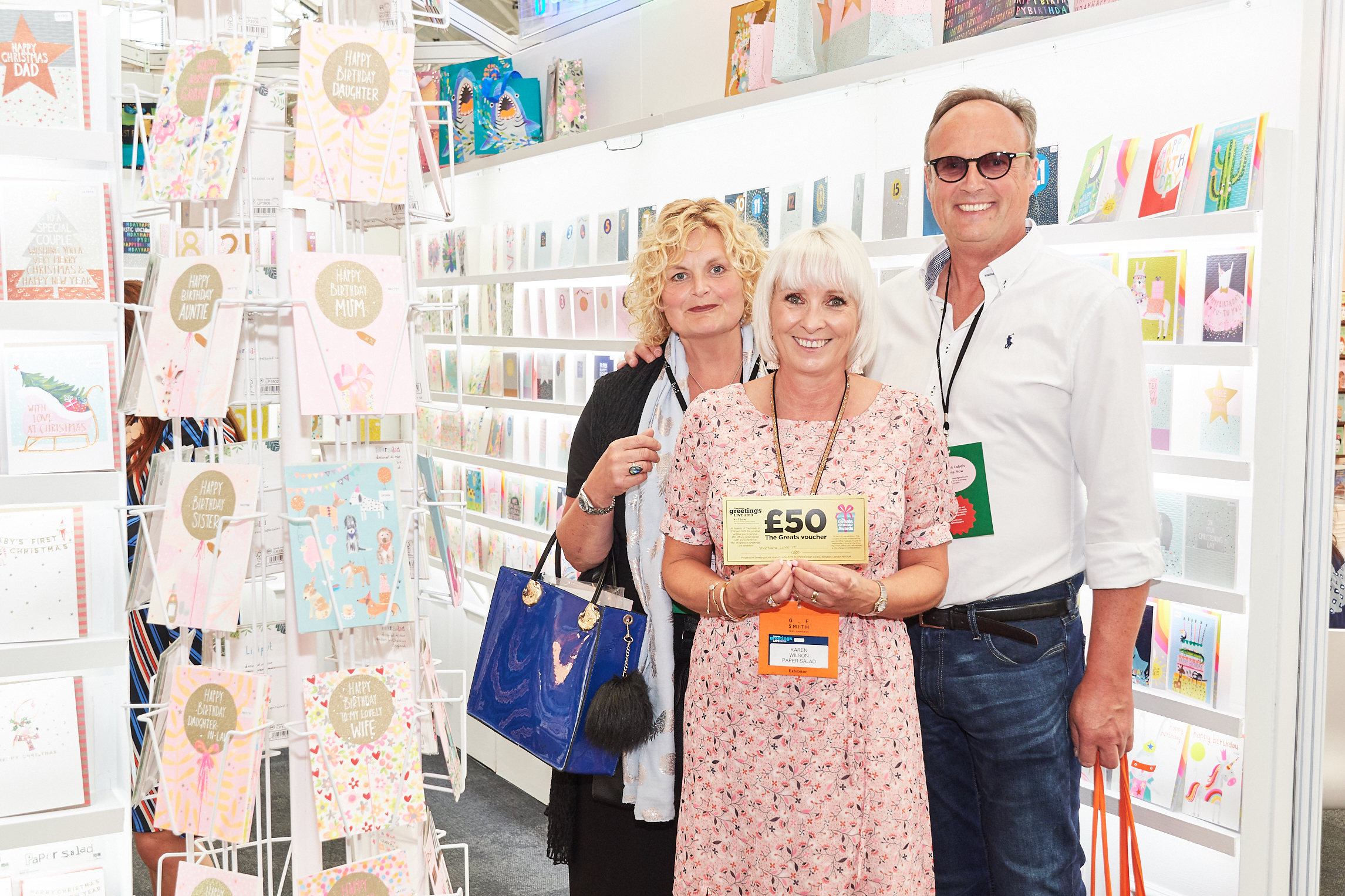 Above: Paper Salad's Karen Wilson (centre) with Love It's co-owners, Amanda and Will Oscroft at last June's PG Live.