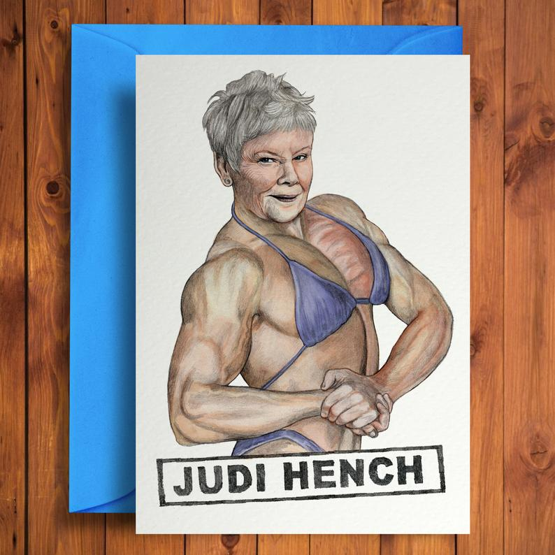 Above: Dame Judi Dench as you have never seen her – on a Quite Good Cards design.