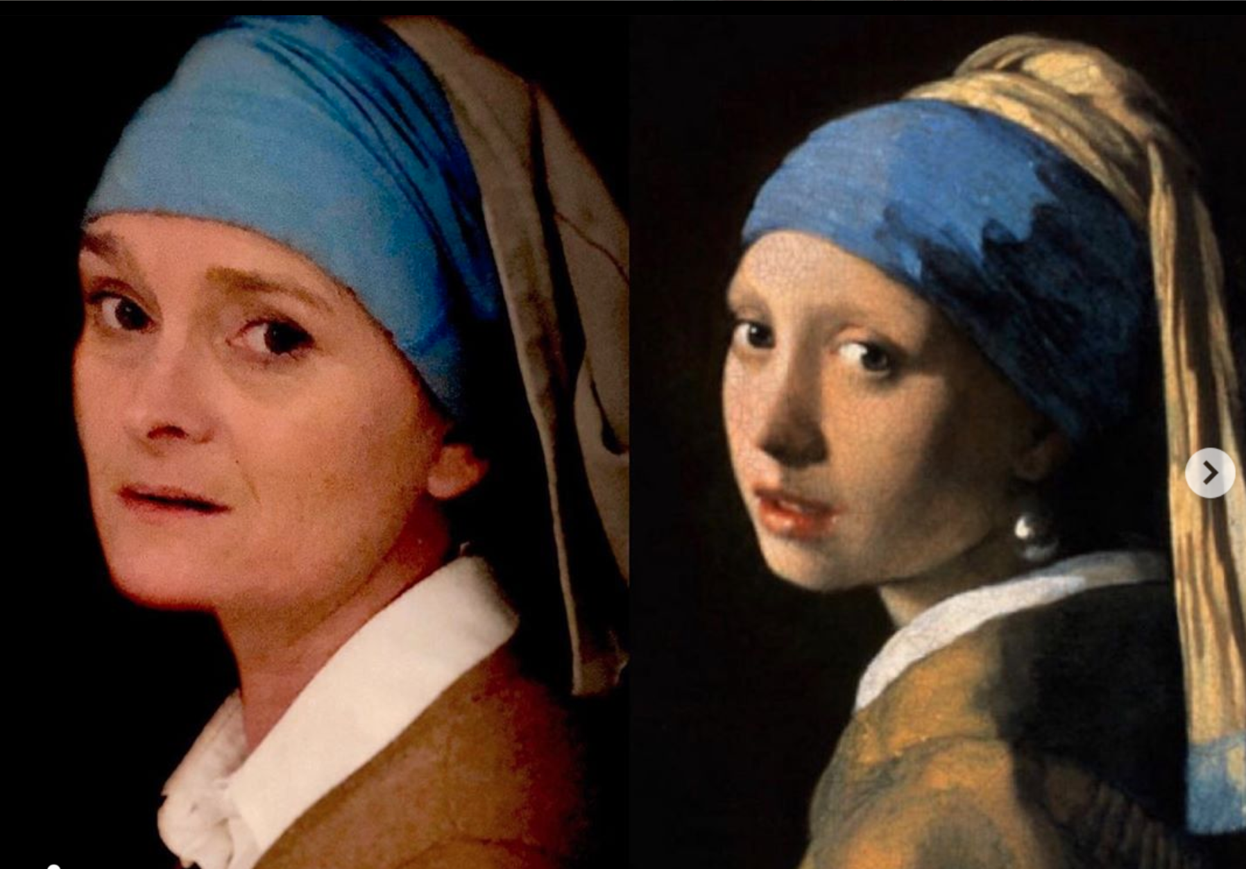 Above: Wendy participating in a challenge from retail stockist Inside Out in Tavistock to reimagine a famous painting. This is a take on Vemeer's Girl with a Pearl Earring – something's missing from your lobes Wends!