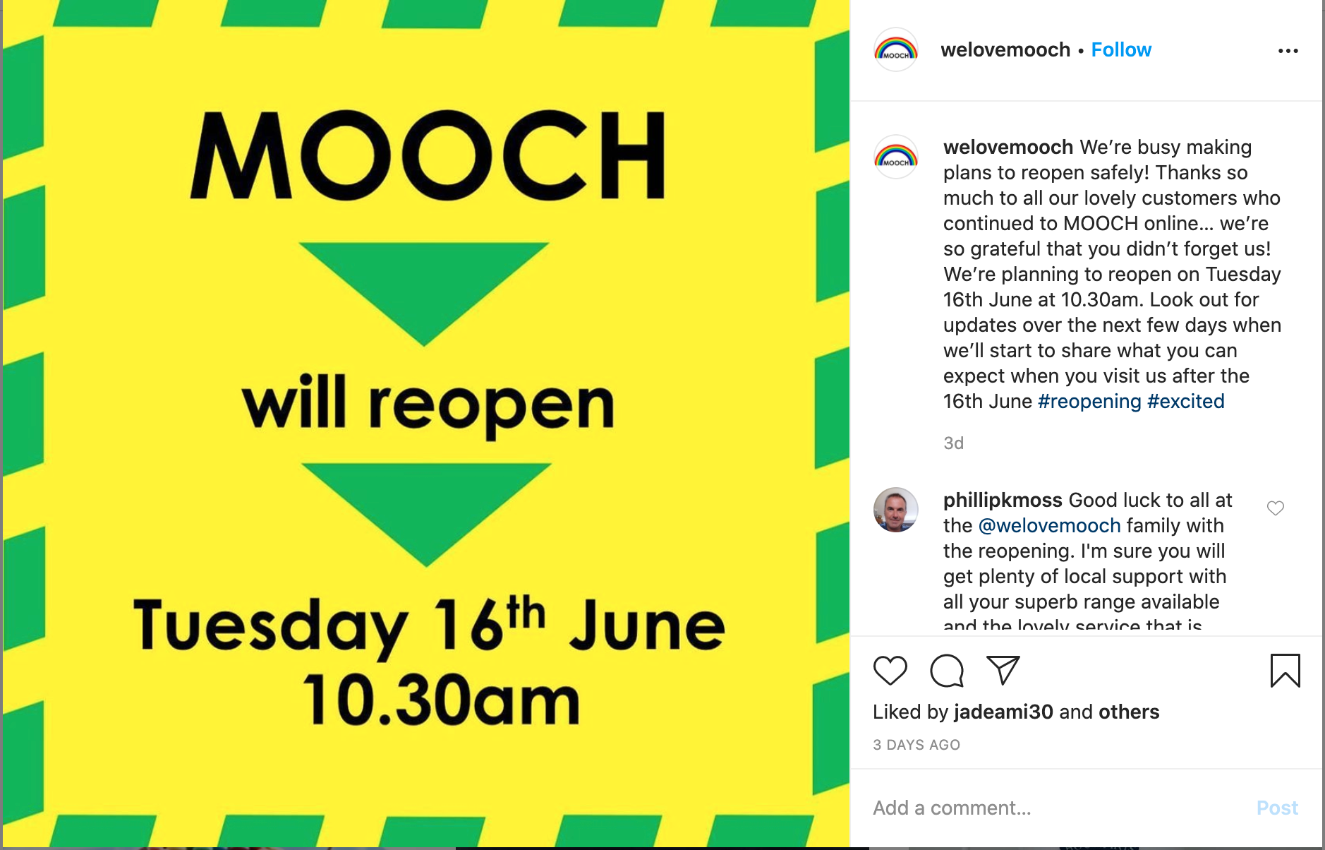 Above: A welcome post on Mooch's Instagram feed.