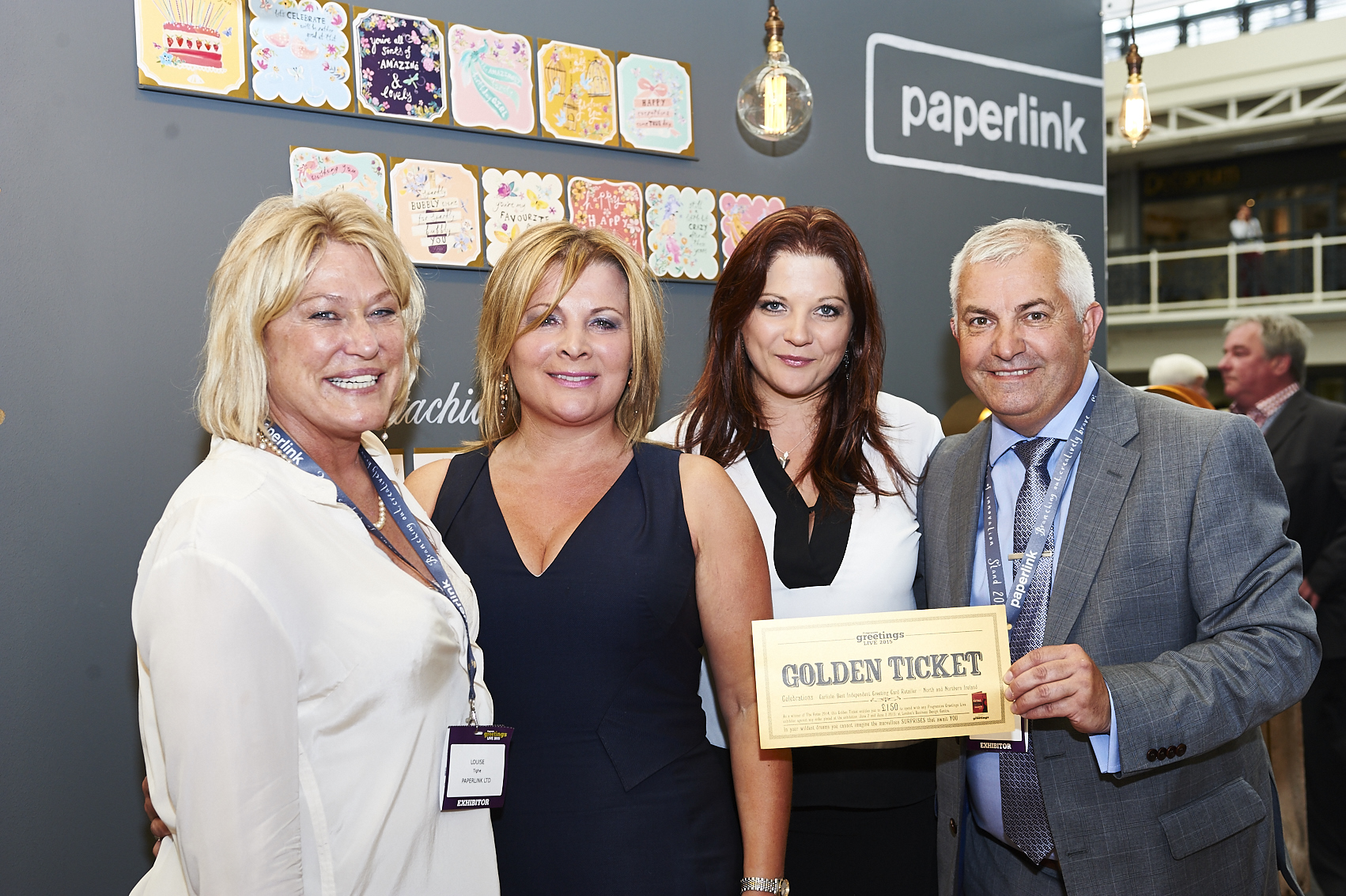 Above: (left-right) Louise Tighe, ceo of Paperlink with retail customers Tanya Haadrikman and Sonya Haadrikman-Sibbald with Bill Greeno on the publisher's stand at PG Live.